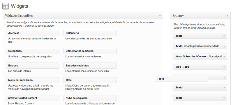Widget de texto en Wordpress